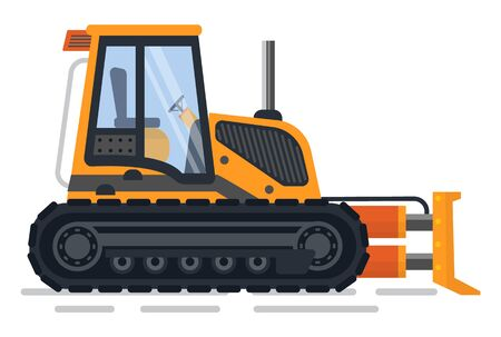 Machinery for construction and working process vector, isolated excavator with empty cabin. Bulldozer used in building, automotive mechanism flat style