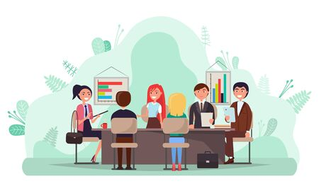 Business conference vector, people sitting by table discussing project problems. Workers finding solution, brainstorming man and woman with charts 일러스트