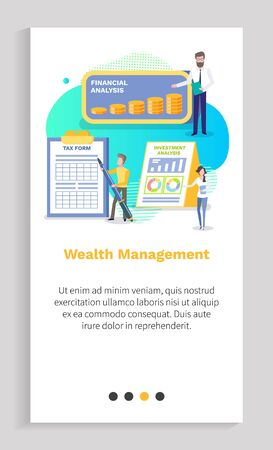 Wealth management vector finance plan and profit gaining percent people showing benefit from deposit in bank, banking system workers with stats. Website or app slider template, landing page flat style