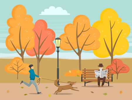 Man walking dog running with pet vector. Senior man sitting on bench and reading newspaper with latest events. Forest with trees and orange leaves. Foliage turns yellow in park flat style autumn Stockfoto - 134063351