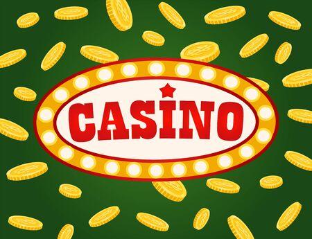 Casino-Brett mit Währungs-Jackpot, Glücksspiel-Schild mit Glühbirnen, verziert mit goldenen Münzen. Glücksspielwerbung, Nachtunterhaltung, Pokervektor