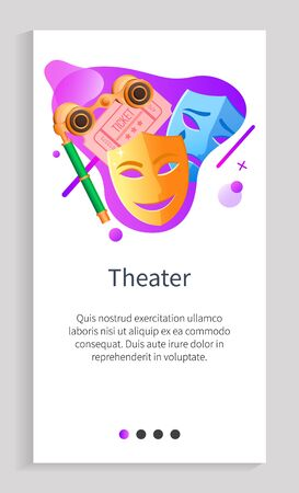 Theater vector, masks of drama and comedy plays in performance, binoculars special glasses and tickets with dates and info on premiere, site. Website or app slider template, landing page flat style