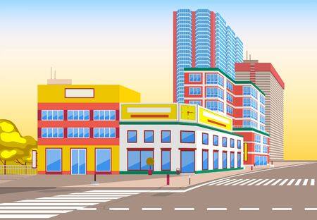 Town with buildings and empty street, 3d look of city road and houses. Bushes and trees, sunshine cityscape. Skyline, crossroad with zebra. Cityscape with houses facades. Ubran landscape. Flat cartoon