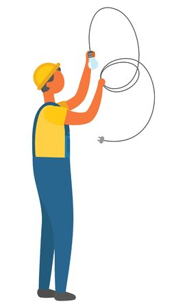 Vector de instalación de bombilla eléctrica, electricista con cable largo. Personaje trabajando en la fijación y reparación de la casa, cableado del sistema de suministro de luz