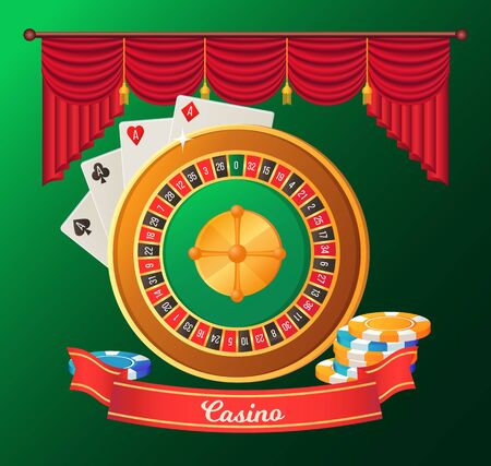 Casino postcard in green color decorated by ribbon, roulette table, ace cards and striped chips. Poster with objects of gambling, entertainment vector