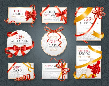 Gift cards with inscriptions and sum vector. Paper certificate decorated by red ribbons and decorative bow. Greeting gift voucher with special occasion or event. Present for birthday or anniversary