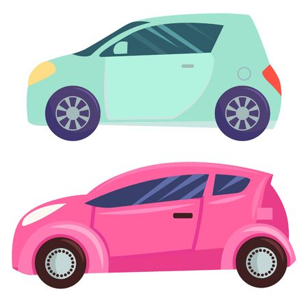 Transports vector, isolated set of automobiles of different color. Minicar smart car eco-friendly machine, eco auto with powerful engine transportation illustration in flat style design for web, print Ilustrace