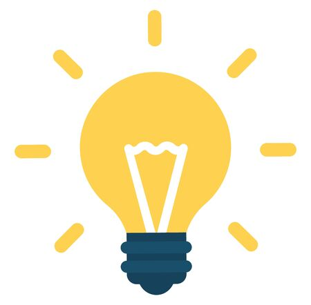 Light bulb icon vector on white background color. Yellow lightbulb solution idea and creativity symbol. Vector illustration for graphic and web design in flat cartoon style  イラスト・ベクター素材