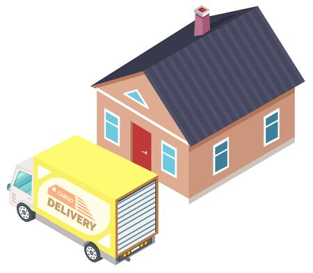 Cargo delivery by truck, lorry standing near home, moving furniture in dwelling. Shipping or transportation objects for room, exterior of house 3d isometric vector