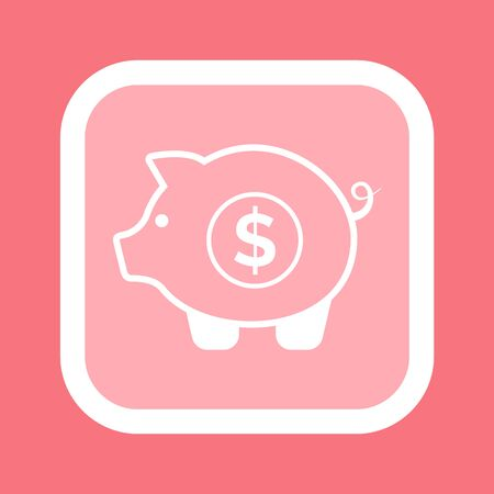 Piggy bank isolated money box icon. Vector pink pig and coin with dollar sign in rectangular frame, white savings symbol silhouette. Financial storage icon