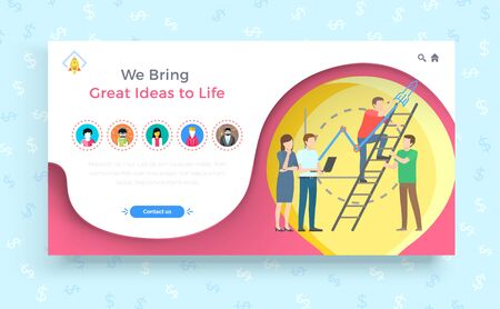We bring great ideas to life banner vector. Teamwork of workers, people setting goals and achieving results. Successful completion of project. Leadership and partnership at work. Cooperation success Vettoriali