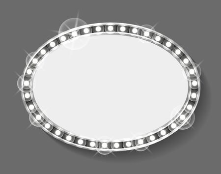 Rounded shape of frame with silver bulbs vector, isolated borders with shining and sparkling. Cold grey image of banner with copy space filling place  イラスト・ベクター素材