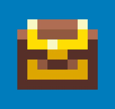 Pixel game graphics element vector, isolated icon of wooden casket with wealth, locked container with richness, mosaic design of 8 bit gamification Ilustração