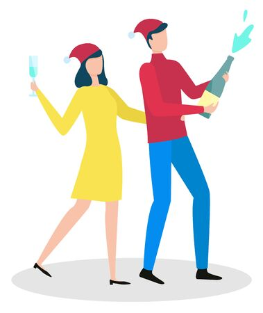 People celebrating winter holidays together vector. Isolated characters wearing santa claus hats partying and having fun. Man uncorking champagne bottle and woman holding glass with alcohol drink