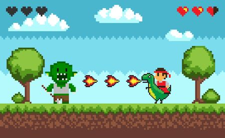 Computer pixel game interface, personage cavalier saddle astride a dinosaur with fire, 8 bit portrait view of fight troll monster and characters, hero battle in video-game. Pixelated ground with grass 일러스트