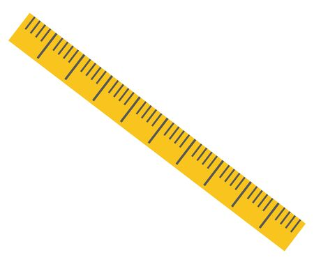 Yellow ruler vector, isolated icon of device for measuring object for precision. Item decorated with dots, made of plastic material school supply. Back to school concept. Flat cartoon