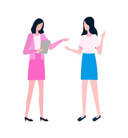 Woman talking to secretary vector, people having conversation isolated ladies wearing formal clothes. Person holding papers documents on clipboard