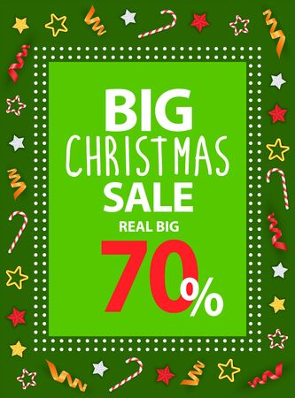 Big Christmas sale vector. Promotional poster with text and symbols of winter holidays. Frame made of dots with decorative font. Stars and candies on corners of card. Marketing of shops deal