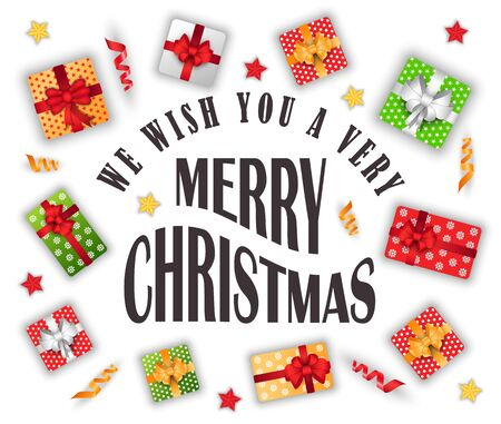 Vi auguriamo il vettore di Natale. Celebrazione delle vacanze invernali, saluto con eventi stagionali. Regali in scatole con fiocchi e carta da regalo decorativa. Presente per lo scambio tradizionale in stile piatto