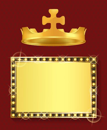 King or queen jewelry, gold frame and royal crown vector. Blank framework, shiny borderline and monarchy symbol, golden headdress and empty signboard