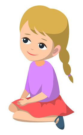 Cute girl vector, isolated character little kid with braided hairstyle wearing skirt and sweater. Education in kindergarten, child with peaceful face, back to school concept. Flat cartoon