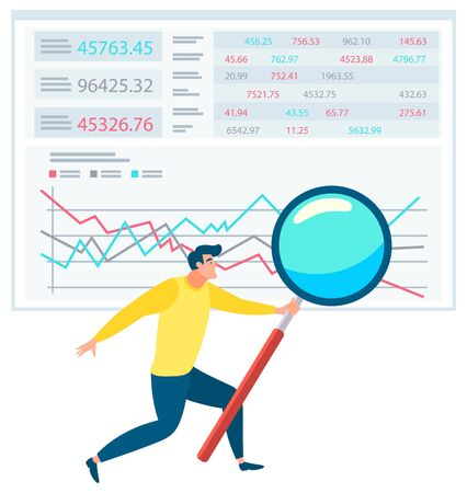 Man standing near statistics chart and looking on it through magnifying glass. Data graph on white sheet. Business tools for innovations and cooperation. Vector illustration flat style