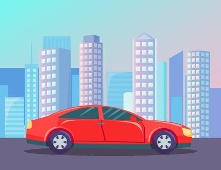 Moving car in city, skyscraper and sunset view. Red automobile going by road near high buildings, auto in downtown, vehicle and cityscape, town vector  イラスト・ベクター素材
