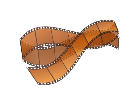Cinema strip vector, isolated icon with recorded film on tape, cinematography retro photo roll with frames. Filmmaking industry movies entertainment Illustration