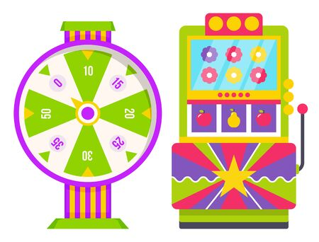 Wheel of fortune with colorful sectors with numbers. Slot machine with fruits and flowers icons isolated on white. Lucky roulette and arcade games. Gambling and casino concept vector illustration