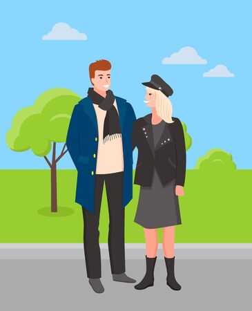 Man and woman wearing stylish clothes walking in park vector, spring forest with trees and greenery. Couple with hat and scarves, nature outdoors