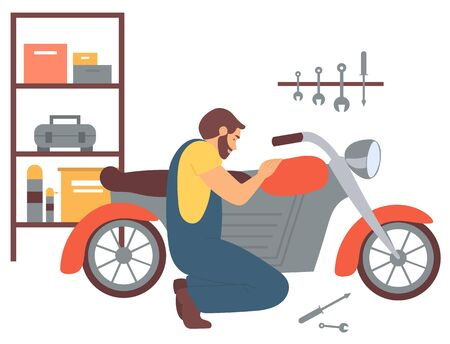 Man at mechanics shop vector, person fixing motorcycle, hobby of male in garage with tools. Person tuning motorbike, transport fixation machinery interest