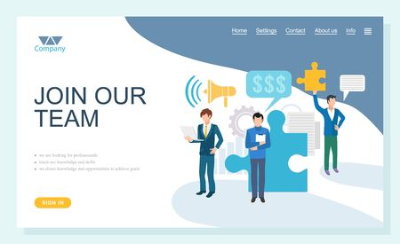Join team online, looking for professional, teacher knowledge and skills. We direct opportunities to achieve goals, interview or resume, company ad vector. Website or webpage template, landing page