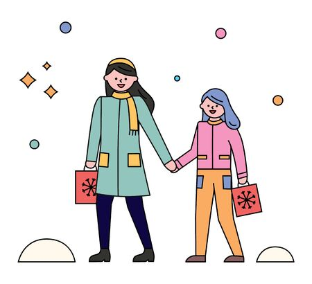 Mother and daughter strolling in city park in winter. Woman with her child walking in warm clothes like overcoat, scarf and hat. Vector snowflakes falling on ground, snowy weather illustration