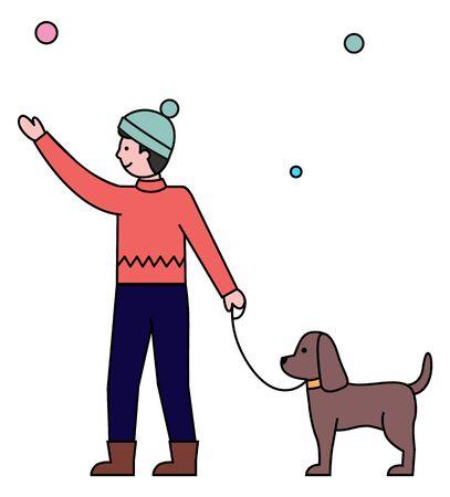Junger Mann, der mit seinem Haustier geht. Haushund an der Leine mit dem Besitzer. Junge in Oberbekleidung und Hut, der im Winterstadtpark schlendert. Vektorschneeflocken, die auf den Boden fallen, Schneewetterillustration Vektorgrafik
