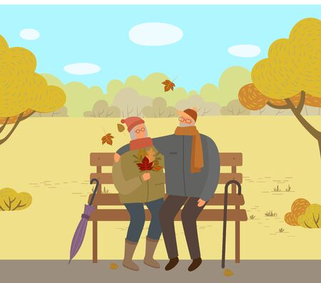 Old couple sitting on wooden bench in autumn park illustration. Grandfather and grandmother walking together. Woman holding orange leaves in hands. Vector stick and umbrella in lawn, flat style