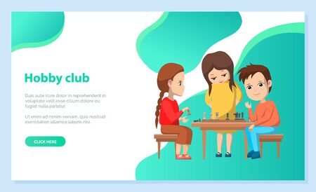 Hobby club children playing games chess with figures. Boys and girls isolated characters, childhood of personage, friendship of youth, back to school concept. Vector illustration in flat cartoon style