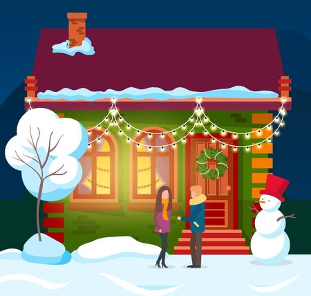 People standing by house decorated for winter holidays. Man and woman by building and snowman with bucket on head. Flat with pine tree glowing inside. New year or Christmas preparation and celebration