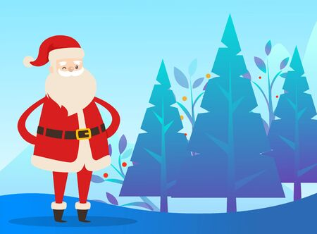 Santa Claus standing on snowy ground in vector forest. Christmas time in december, traditional winter holiday illustration. Person in red warm clothes walking alone through wood with firs or pines