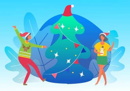 People dancing and happy to greet each other with winter holiday. Man and woman in festive sweaters with reindeer and snowman. Christmas vector fir tree with garland, traditional xmas celebration