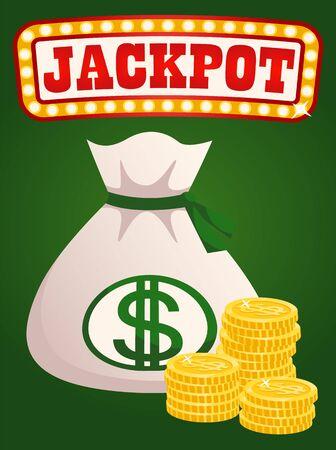 Pièces d'or et sac avec vecteur de richesse, monets isolés et sac. Dollars dans un conteneur, économiser de l'argent en lieu sûr, victoire au casino, trésor de récompense de victoire. Tableau des jackpots