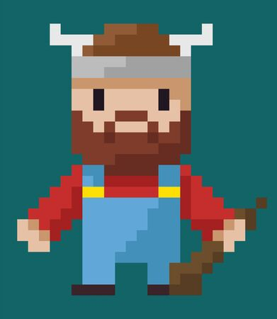 Pixel art character vector, isolated viking holding weapon made of wood flat style icon from 8bit games, horns on hat, bearded male from Norway barbarian. Pixelated superhero for app or video game