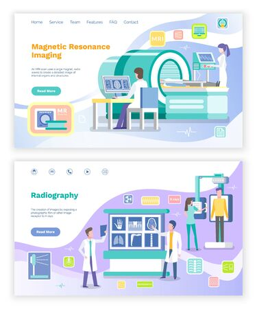 Radiology and magnetic resonance imaging in hospital vector, doctors helping patients. Analysis and examination of human body, diagnostics. Website or webpage template, landing page flat style