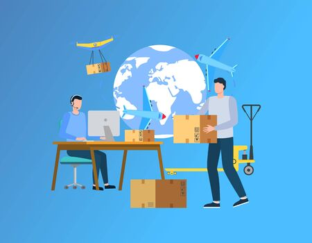 Cargo delivery abroad vector, people working with shipment and parcels packaging, man holding package working on laptop, globe image and text. Illustration for delivering website in flat style
