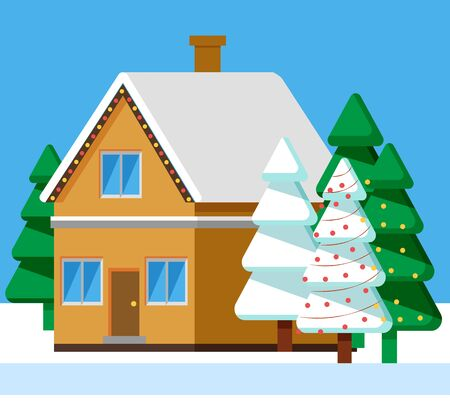 Winter rural house. Building in city or small town with roof covered with snow. Wintertime in village. Estate with pine trees growing outdoors. Spruce with garlands outdoors decor. Christmas vector