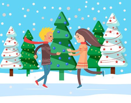 People skating on rink, man and woman on winter holidays. Recreation outdoors. Snowing weather in woods with pine trees decorated with baubles. Skaters wearing warm clothes flat style vector