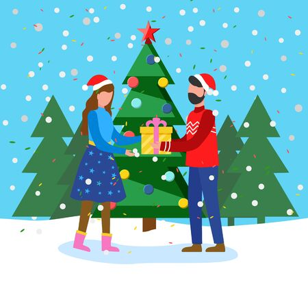 Man and woman holding gift box and standing near fir-tree. Greeting winter holiday postcard with snowy tree and couple in Santa hat. Festive card people with present near traditional Xmas wood vector