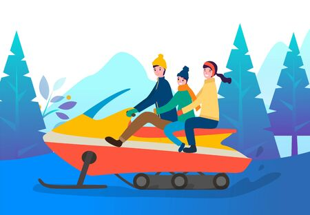 Family riding snowmobile on winter snowy roads in park or forest. Mother, father and son spend time actively together on weekend or holidays, cold weather. Vector transport with people in wood