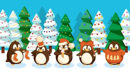 Paisaje invernal con pingüinos. Pájaros con ropa de punto abrigados en bosques con abetos y pinos. Árboles decorados con adornos y guirnaldas. Vacaciones de Navidad celebradas en tarjeta de felicitación de vida silvestre.