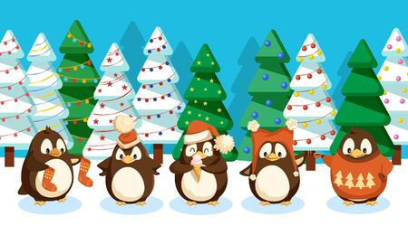 Winter landscape with penguins. Birds set wearing warm knitted clothes on woods with spruce and pine. Trees decorated with baubles and garlands. Christmas holidays celebrated in wildlife greeting card