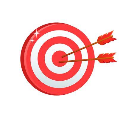 Brettspielvektor, beliebte Entspannung für Erwachsene, Wettkampf-Dartscheibe mit in verschiedenen Farben und Pfeilen gefärbten Zielen, Bullauge und Ziel einzeln. Geschäftsziel